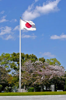 Japanese flag and Japanese cherry trees